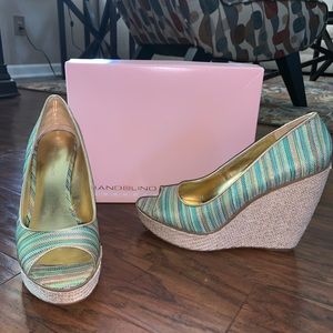 Green striped wedges